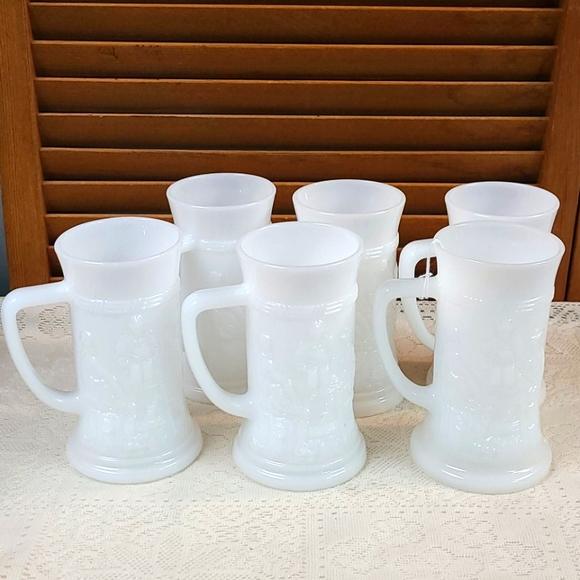 Vintage Milk Glass Tavern Beer Mugs